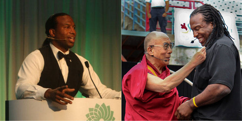 Georges Laraque montage in conference and with the Dalai Lama
